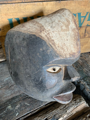 An African Salampasu hand-carved wooden mask from the Congo