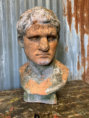 A clay or terracotta bust of Roman Emperor Caesar