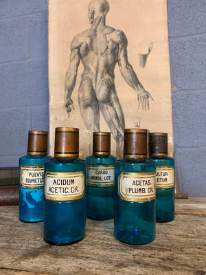 A collection of five blue glass apothecary bottles with hand-painted labels