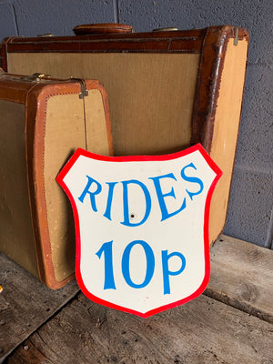 A hand painted fairground advertising sign - Rides 10p