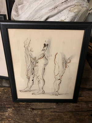 An original Renaissance style anatomical pen and ink drawing of a male nude (1)