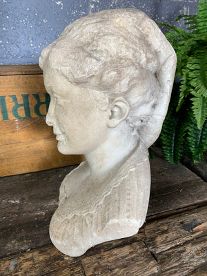"A 19th Century solid marble bust of a girl - signed ""A Rodin"""