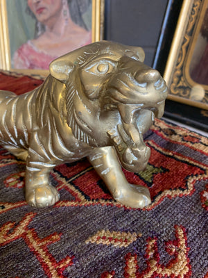 A large brass Mid-Century Hollywood Regency tiger statue