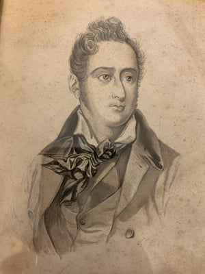 A 19th Century framed and signed pencil portrait of Alphonse de Lamartine
