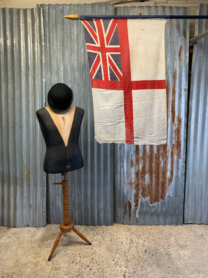 A Coronation flag on pike stand - Union Jack white ensign