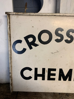 A hand painted wooden Crossley Chemist sign