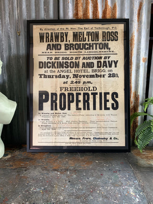 A large framed 1920s property auction poster- Lincolnshire area