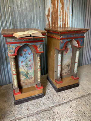 A pair of Hungarian hand-painted pedestal stands