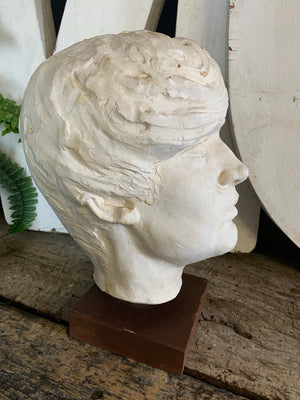 A large Mid-Century white plaster head - signed