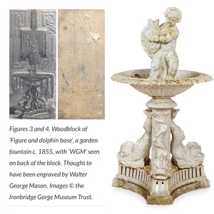 A large white Coalbrookdale cast iron fountain with dolphin detailing