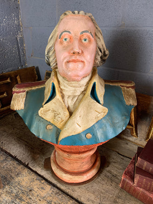 A painted plaster bust of George Washington