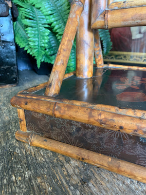 A tiger bamboo Chinoiserie dressing table mirror