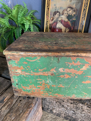 A Georgian green painted pine chest