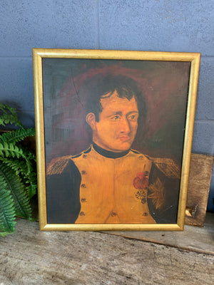 A framed oil on board painting of Napoleon