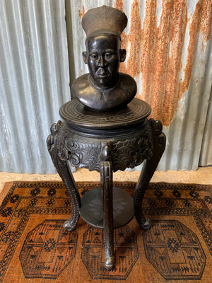 A Chinese black ebonised jardinière pedestal stand