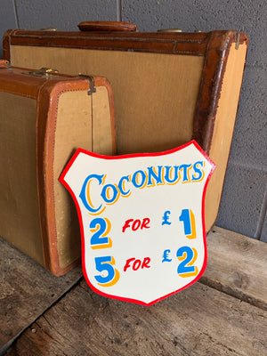 A hand painted fairground advertising sign - Coconuts
