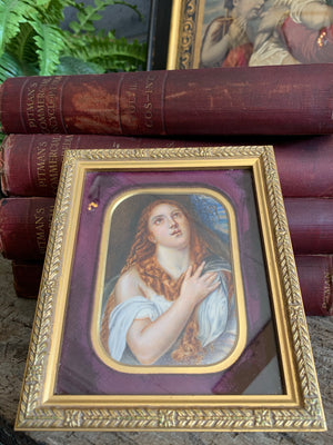 A 19th Century miniature painting of Titian's penitent Mary Magdalene
