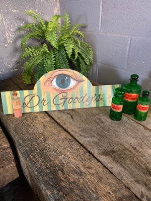 A hand painted wooden apothecary sign - Dr Goody's