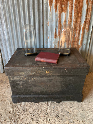 A Victorian shipwright's tool chest- ebonised with fitted interior