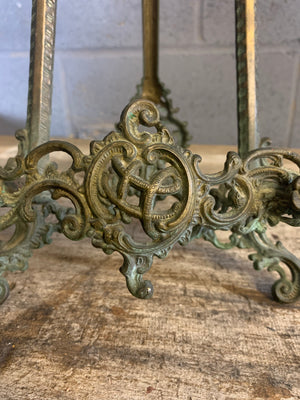 An ornate brass Rococo styled desk easel