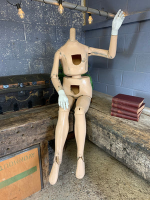 A vintage articulated full form mannequin or lay figure