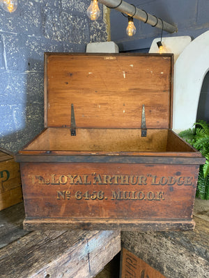 A Manchester Oddfellows wooden trunk