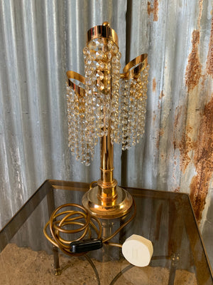 A Hollywood Regency crystal drop table lamp