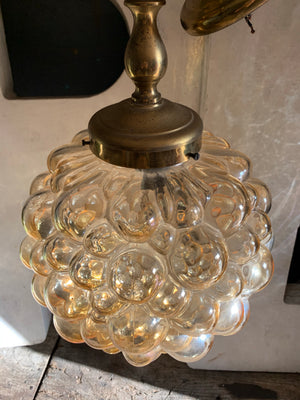 A Mid-Century Helena Tynell/Gantenbrink Amber Glass Bubble Light for Limburg