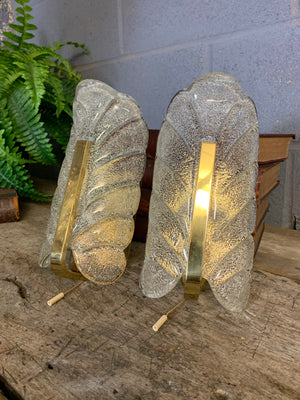 A rare pair of wall sconce lights by Carl Fagerlund for Orrefors