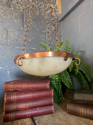 An alabaster and copper plafonnier pendant ceiling light