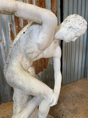 A cast stone garden statue of the Discobolus - 83cm