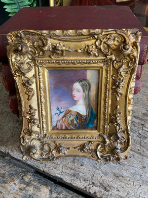 A 19th Century signed original miniature portrait of a woman 1839