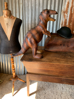 A very large mid century brown leather T Rex (68cm)
