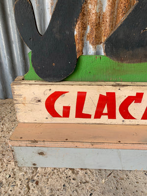 A 1950s French 'Glaces' ice cream trade advertising sign featuring Felix