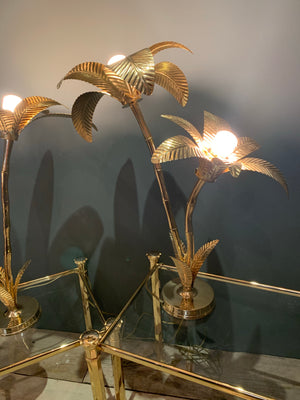 Large Hollywood Regency brass palm tree table lamp