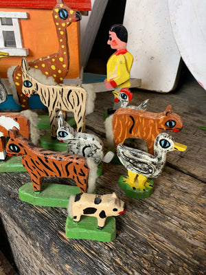 A handmade folk art Noah's Ark and animals
