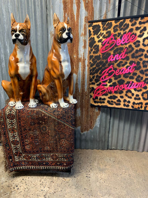A large ceramic Boxer dog statue made by Ceramiche, Italy