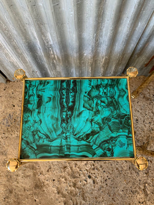 A pair of Hollywood Regency brass and simulated malachite side tables