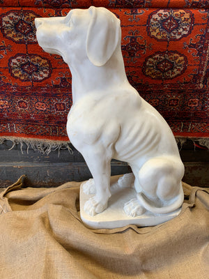 A large carved white solid marble dog statue - 72cm