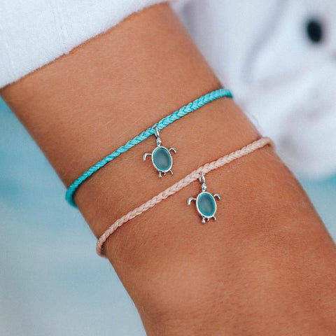 Silver Sea Turtle Bracelet - Crystal Blue