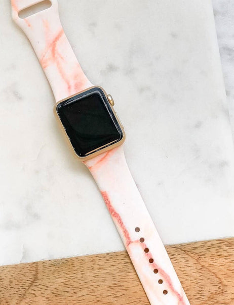 Peach Marble Silicone Watch Band