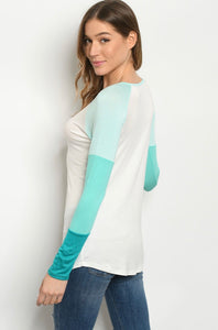 Mint/Ivory ColorBlock Tee