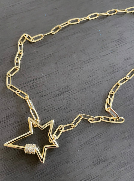Pave Gold Star Carabiner Necklace