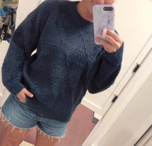 Solid Navy Fuzzy Sweater
