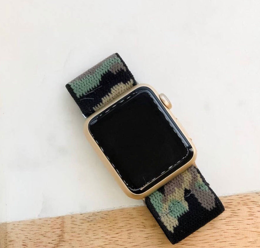 Green Camouflage Stretch Apple Watch Band