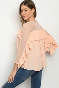 Blush Dotted Ruffle Top