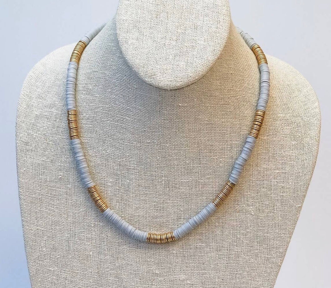 Grey/Gold Rubber Disk Necklace