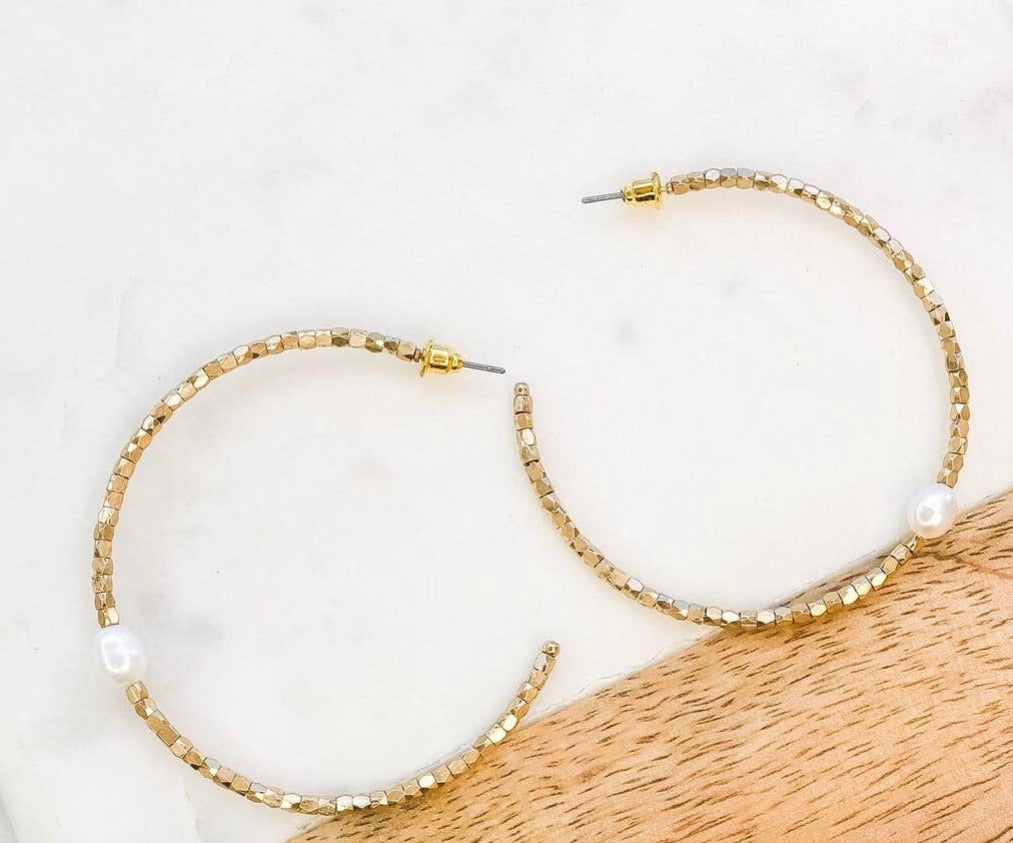 Gold Freshwater Pearl Hoops