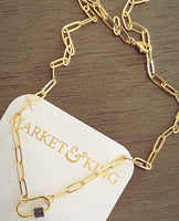 Gold & Gunmetal Dainty Carabiner Necklace