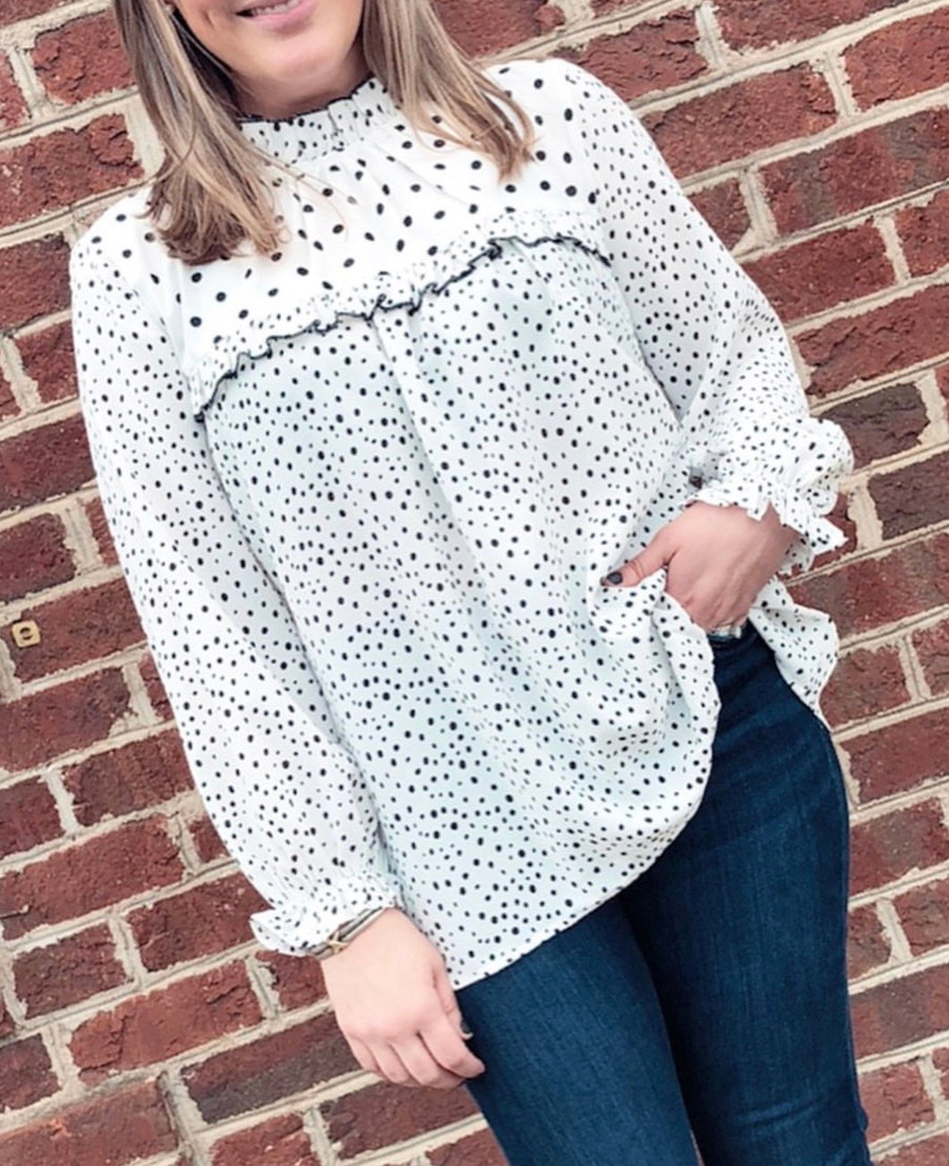 Black & White Polka Dot Mock Top